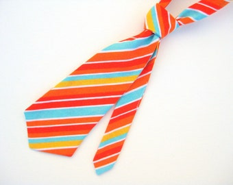 Baby / Toddler Tie - red orange / tangerine / aqua blue / golden yellow / white stripe - 0-2 years