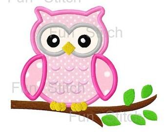 Cute owl applique machine embroidery design instant download