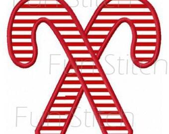 Christmas candy cane applique machine embroidery design