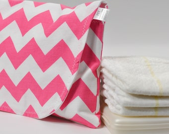 Diaper and Wipe Clutch in Pink Chevron