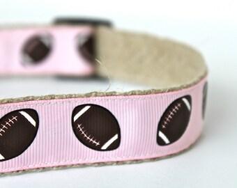 Football Dog Collar, Pink Dog Collar, Adjustable Dog Collar, Sale Collar