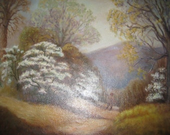 SaLe VINTAGE Oil Painting Woods Forest Mountains by M Burks