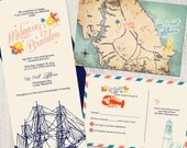 Wedding Invitation Suite: (Nautical, Ship, Lobster, Map, Lighthouse, Sailing, Nantucket, New England) Nautical DIGITAL