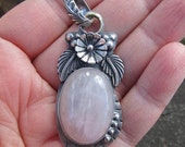 Native American Inspired Sterling Silver and Rose Quartz Pendant
