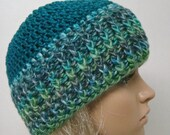 Turquoise Hat with Variegated Band Teenager Hat Winter Hat Stylish Beanie