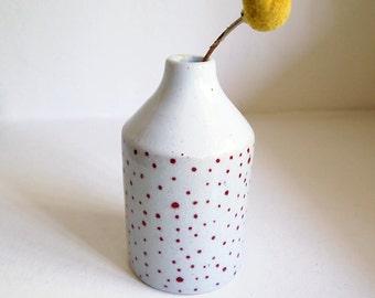 SALE! Ceramic Red Dotted Bottle Vase