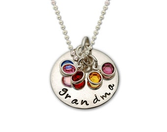 Hand Stamped Personalized GRANDMOTHER birthstone Necklace Silver Custom Grandma