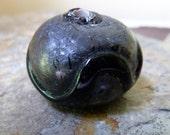 Heavy Large Black Rustic Murano Glass Bead - 20x25mm - Gorgeous Black on Black Venetian Murano  Bead with Raised Trail