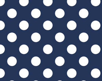 Navy and White Medium Polka Dot Cotton For Riley Blake, 1 Yard