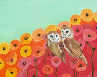 Owls in a Poppy Field Giclee Print Poppies Red Orange Seafoam Green Wall Art