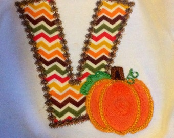 Fall shirt, autumn shirt, festive shirt, pumpkin shirt, initial shirt. girls shirt, boys shirt, toddler shirt, embroidery shirt, baby shirt