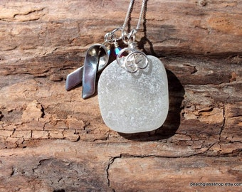 Lake Erie Beach Glass Sea Glass Necklace - Breast Cancer Awareness Necklace