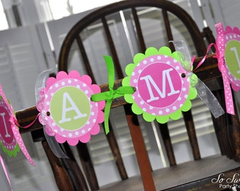 Highchair Banner - 1st Birthday Banner - I am 1 Banner - Photo Prop - Polkadots Pink and Lime Green