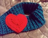 Reserved For Customer Valentine Knit Heart Headband Crocheted fits Adults and Teens READY TO SHIP