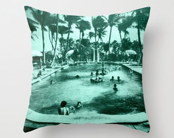 Coastal Pillows Cover 18x18, Swimming Pool Art, Coastal Decor, Pool House Decor, Pool House Pillow, Aqua Pillow, Aqua Decor, Coastal Pillows
