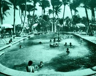 Swimming Pool Art, Pool House Art, Swimming Pool Photograph, Mid Century Modern Art, Mid Century Pool house art, Beach Decor Art aqua decor
