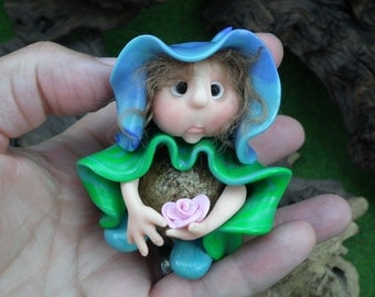 Blossom Podkin 'Hillari' Forest Defender OOAK Sculpt Sculpture by Artist Ann Galvin Gourd Doll