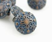Metal Buttons - Damascene Carvings Metal Buttons , Retro Blue Paint Copper Color , Shank , 0.51 inch , 10 pcs
