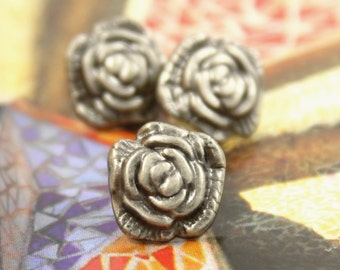 Metal Buttons - Camellia Metal Buttons , Nickel Silver Color , Shank , 0.43 inch , 10 pcs