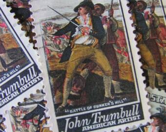 The Battle at Bunker Hill 30 Vintage US Postage Stamps John Trumbull American Artist Fine Art Painting Revolutionary War History Ephemera