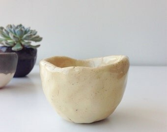"Handmade Rock Planter M""Grossy Ivory"" Flower Pot Vessel Pot"