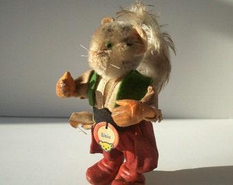 Steiff Lixie / Vintage Antique Steiff Figure / Lixie the Cat / Mohair Felt Resin / SMALL