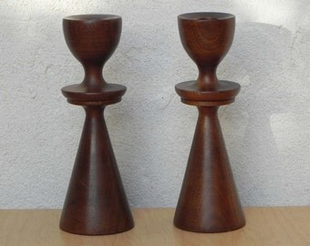 Conical Wood Mid Century Candle Stick Holders