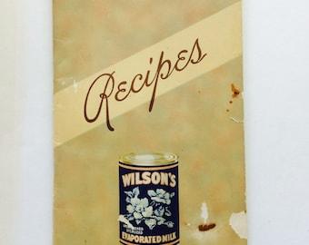 Vintage Wilson's Evaporated Milk Recipe Cook Book 1930s 1940s