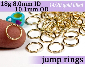 18g 8.0mm ID gold filled jump rings -- goldfill jumprings 18g8.00 links