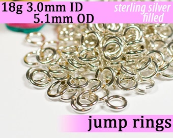 18g 3.0mm ID 5.1mm OD silver filled jump rings -- 18g3.00 open jumprings links