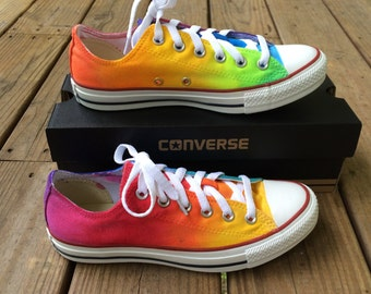 Rainbow Tie Dye Custom Converse Shoes As Seen on Talk Stoop
