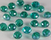 Glass Jewelry Beads - 8mm Faceted Rondelles, Medium Green Color, 1mm Hole Size, 20 Pieces