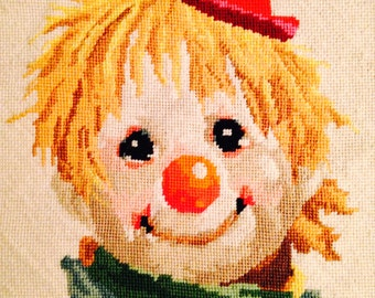 Needlepoint Clown Wall Art Mid Century Modern Kitsch Happy With Jaunty Hat