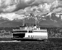 """Seattle To Bremerton Ferry, Very Fine Art Black and White Photograph; available in 5x7"""", 8x10"""", 11x14"""", 13x19"""", and note card with envelope!"""