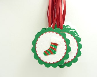 Christmas Gift Tags Set of 11, To From Christmas Tags, Red and Green Holiday Tags, Handmade Paper Tags
