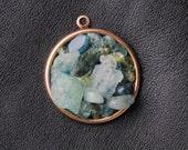 Cool water pendant: aquamarine, apatite, peridot, copper