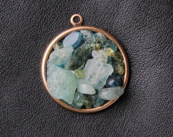 Cool water pendant: aquamarine, apatite, peridot, copper