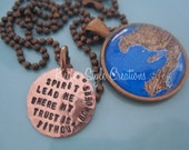 Haiti Adoption Mission Map Hand Stamped Necklace