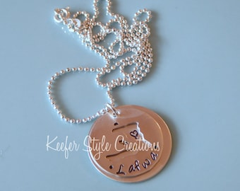 Hand Stamped Haiti cut out adoption/mission Necklace