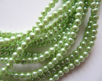 4mm Glass PEARL Beads in Light Green, Round, 100 Beads, Green Glass Beads