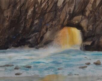 Pfeiffer Beach Watercolor Print, Big Sur, Seascape, Waves, Northern California, Coastal