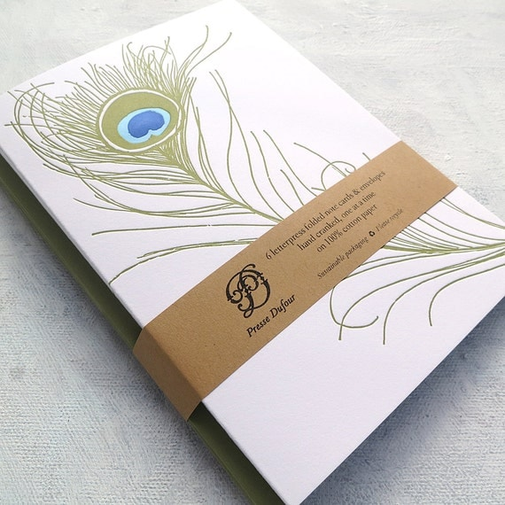 Letterpress Note Card Set - Peacock Feather