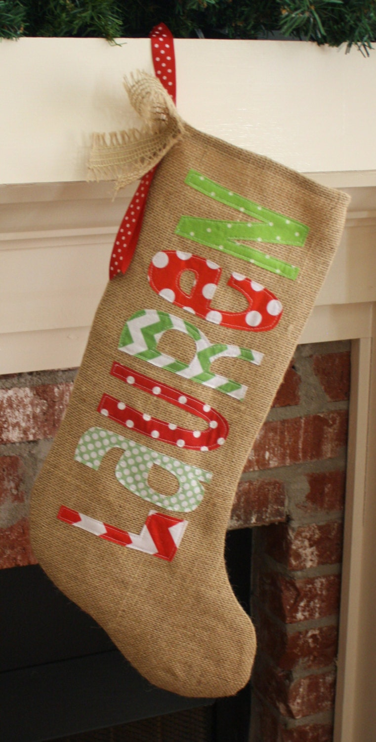 personalized christmas stocking burlap by thecolorfulchicken