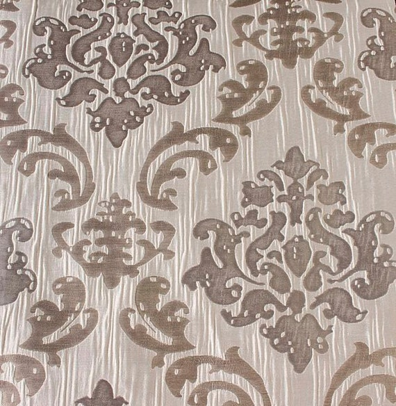 Custom cream curtains with beige gray damask by lushlivings for Beige damask curtains
