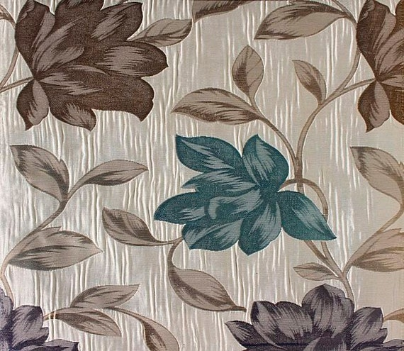 Custom Cream Curtains with Beige / Navy / Teal Floral Pattern