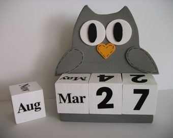 Owl Calendar Perpetual Wood Block Grey Owl Decor