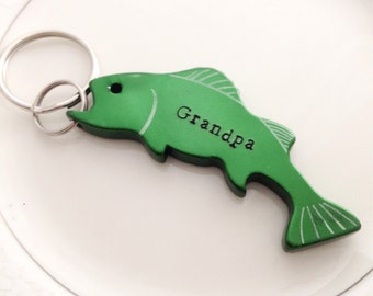 personalized fisherman's bottle opener keychain hand stamped
