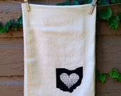 Flour Sack Tea Towel, Dish Towel, Kitchen Towel of State of Ohio Love