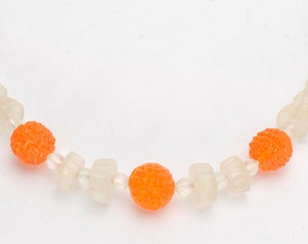 1950's Necklace Choker Glass Beads Orange and White-20% off Sale: Use code HappyNewYear20
