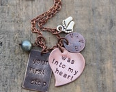 2014 MOTHER design - your first step was into my heart - with baby feet charm